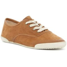 Frye Melanie Low Sneaker featuring polyvore, women's fashion, shoes, sneakers, camel, almond toe shoes, laced sneakers, lace up sneakers, lace up shoes and low shoes