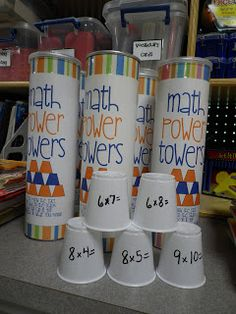 Math Power Towers Game- as long as they get the answer right they can keep stacking cups! YOU COULD USE THIS FOR ANY SUBJECT THEY ARE LEARNING!