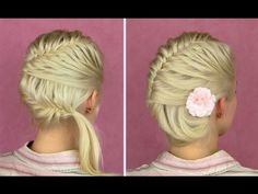 French fishtail braid tutorial for short and long hair Side bun updo hairstyles how to.. bridesmaid hair?