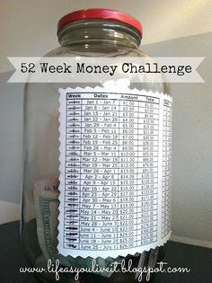 52 Week Money Savings Challenge. Each week add the same amount of money matches that week in the year