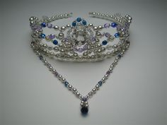 Wonderful head piece suitable for Le Corsaire and many other ballets. Silver frame, Czech crystal beads in fog blue. Hand made. Allow 2 to 4 weeks for shipping. Price: $ 140.00 + shipping Picture # 3