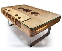 Mixtape Index Image 2 Quirky Furniture: The Mixtape Table from Jeff Skierka Cool Furniture, Modern Furniture, Furniture Design, Music Furniture, Quality Furniture, Design Tisch, Traditional Furniture, Mixtape, Home Deco