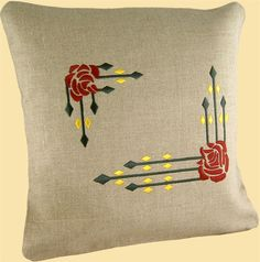 Embroidered Pillow - Diamonds and Roses Craftsman Home Decor, Craftsman Style Bungalow, Craftsman Bungalows, Embroidery Patterns, Cross Stitch Patterns, Embroidery Stitches, Hand Embroidery, Arts And Crafts Furniture, Beaded Cross Stitch
