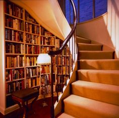 Luxury Design Stairs For Home Interior: Design Bookshelf Under The Stairs with Stand Lamp Minimalist Design with Darkwood Flooring Ideas