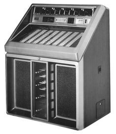 """1986, Rowe-AMI's Model R-90: """"Sapphire 90 and Golden 90 are identical except for  the color of the cabinet..."""" So which is this? Who knows! [Jukebox Collector]"""