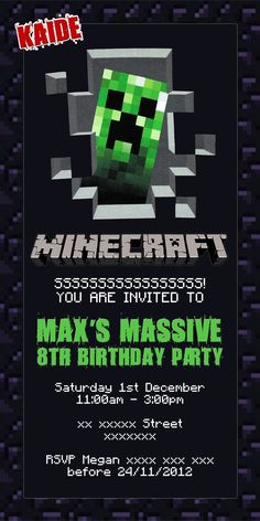 Minecraft invitation  from Choose Awesome - Epic Minecraft Party