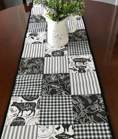 Farmhouse Table Runner Black and White Quilted Table Runner Farmhouse Decor Table Quilt Quiltsy Handmade by homesewnbychristine on Etsy Farmhouse Table Runners, Quilted Table Runners, Farmhouse Decor, Seaside Style, Whimsical Christmas, Christmas Kitchen, Mom Daughter, Table Toppers, Quilt Sets