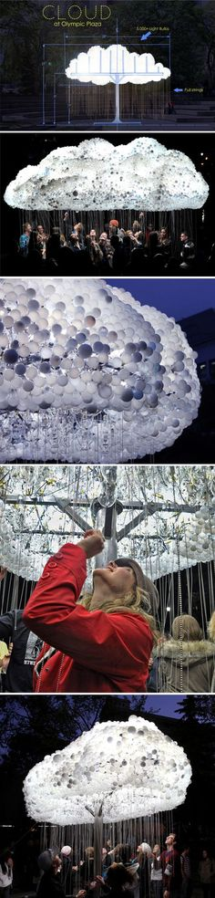 """cloud"" by caitlind rc brown & wayne garrett {lightbulb installation}"
