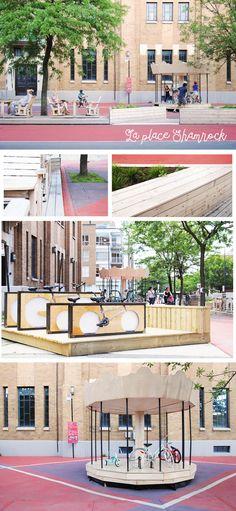 Place Shamrock - Quartier de Jean Talon - Montréal Designers : Atelier Barda, DixAuCarré, Atelier L'ABRI Espace public - Mobilier Urbain - Placottoir - Design Urbain - Rue piétonne