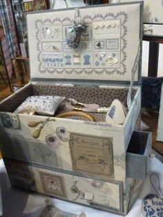 This is so beautiful - JPC 2012 - 105165439479047786415 - Picasa Web Albums Sewing Case, Sewing Box, Sewing Notions, Diy And Crafts, Paper Crafts, Cross Stitch Supplies, Altered Boxes, Decoupage, Tool Organization