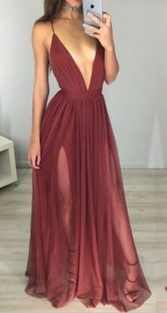 Sexy Maroon Prom Dress - Deep V-neck Long Ruched Backless Prom Dresses,Prom Dresses, Long Evening Dresses, Party Dresses Maroon Prom Dress, Burgundy Formal Dress, Gold Prom Dresses, Prom Dresses For Teens, Prom Dresses With Sleeves, Maxi Dress With Slit, Prom Party Dresses, Ball Dresses, Homecoming Dresses