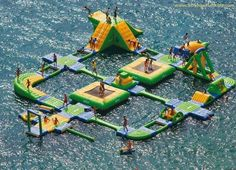 STRANGE WATER FUN - HUGE LAKE FLOAT COMPLEX - DIVING PLATFORMS - BOUNCY FUN - CRAZY WATER TRAILS