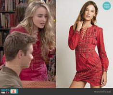 Maya's red printed lace-up dress on Girl Meets World.  Outfit Details: http://wornontv.net/51632/ #GirlMeetsWorld
