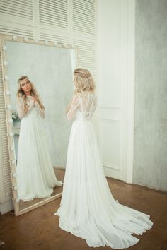 Kelly Lace Back Wedding Dress With Long By Alexveilbridal