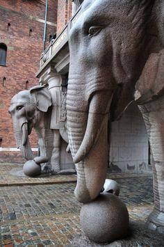 The Elephant Gate entrance to the Carlsberg Brewery, Copenhagen, Denmark
