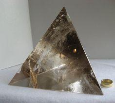 $700.00***LARGE 3-SIDED SMOKY QUARTZ PYRAMID:  Smokin' Smoky Geometric! Crystal Gifts, Smoky Quartz, Art Pieces, Marble, Crystals, Mineral, Rock, Coffee, Home Decor