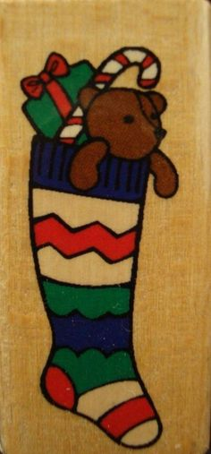 Teddy Bear Candy Cane Toys Stocking Christmas Holiday Wood Mounted Rubber Stamp
