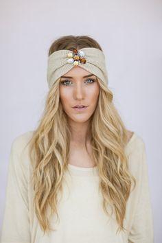Photography Prop Gypsy Headband Jeweled Turband Knit Headband Caramel Knitted Turband Hair Bands Wide Headband TAUPE Wanderlust via Etsy