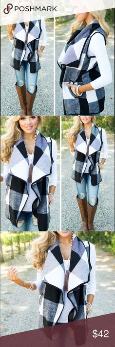 Coming Soon Black & White Vest with Pockets Black & White Print Vest with pocket.                           100% Polyester Boutique Jackets & Coats Vests