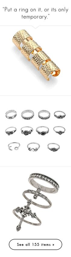 """""""""""Put a ring on it, or its only temporary."""""""" by jaekoreoz ❤ liked on Polyvore featuring jewelry, rings, apparel & accessories, gold, knuckle duster ring, textured ring, band jewelry, gold tone rings, channel-set band ring and rhinestone flower ring"""