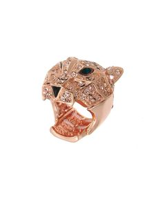 NR0137  Exotic crystal tiger stretch ring, both fierce and totally fabulous.    -plated base metal, crystal  - NR0137-ROSEGOLD LT.PEACH