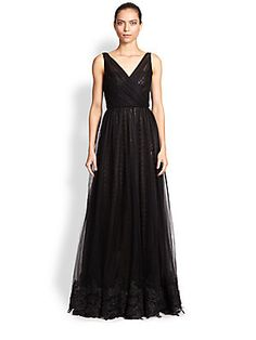 ML Monique Lhuillier Embroidered Tulle & Sequin Dress. Not sure if too frilly
