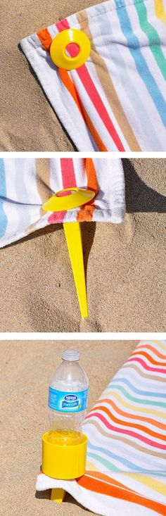 BeachTacs Set // pegs into the sand to secure your towel at the beach - stops it blowing away, with a bonus drink holder! Genius! #product_design