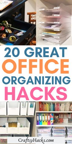 These office organizing hacks will transform your desk space. Organizing your home can be a challenge but these little tricks will help you change that. Office Organization At Work, Kitchen Cabinet Organization, Storage Organization, Kitchen Cupboard, Office Ideas, Storage Ideas, Ikea Fintorp Series, Professional Organizing Tips, Desks For Small Spaces