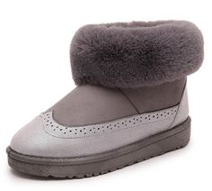 Aisun Women's Cute Warm Round Toe Fluffy Platform Slip On Flats Ankle Snow Boots Shoes * More info could be found at the image url.