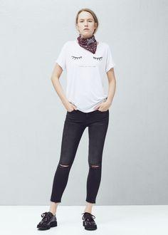 T-shirt imprimé pailleté - T-shirts pour Femme | MANGO