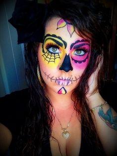 Sugar Skull makeup - I like the yellow and pink