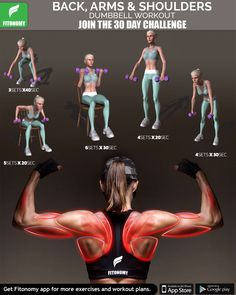 Back, arms and shoulders dumbbell workout. Back, arms and shoulders dumbbell workout. Fitness Workouts, Fun Workouts, At Home Workouts, Fitness App, Fitness Facts, Health Fitness, Fitness Planner, Pilates Workout, 30 Day Challenge