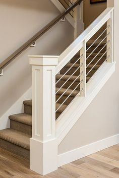 Beautiful Stairwell Railing #1: Newel Post And Railings. Wires Instead Of Balusters Is Probably Too Modern.