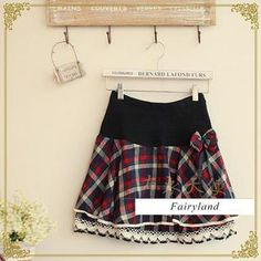 Bow Accent Plaid Tiered Skirt