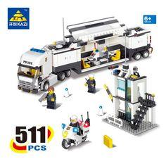 Kazi Police Command Center Surveillance Truck Blocks 511pcs Bricks City Series Building Blocks Sets Education Toys For Children