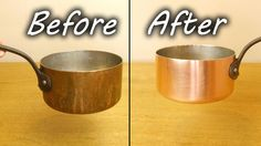 How to clean tarnished copper. Great for pots and pans. Make them look like new again in no tome at all. Just use household supplies to make your copper pans...