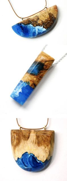 Resin and Wood Jewelry by Britta Boeckmann Encapsulates Crashing Ocean Waves - resin Harz Schmuck DIY Crafts - Resin Jewlery, Resin Jewelry Making, Resin Necklace, Jewellery Making, Resin Crafts, Jewelry Crafts, Jewelry Art, Beaded Jewelry, Jewellery Box