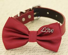 Red Dog Bow tie collar,Pet accessory, Dog lovers, red bow with charm, Love, Christmas gift, Proposal, Dog birthday gift,  dog collar