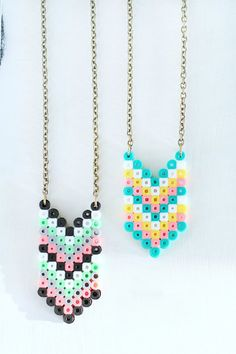DIY this statement necklace using Perler beads.