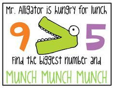 El señor lagarto tiene mucha hambre Apunta su boca al número más grande!