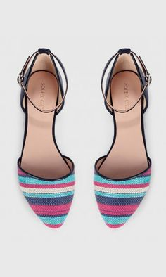 Woven colorful striped flats