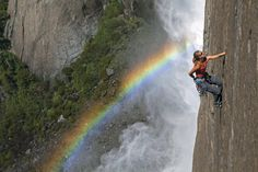 Kate Rutherford on the 'Freestone Route' above Upper Yosemite Falls, California. Photo Jimmy Chin.