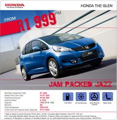 Pay 5.74% interest on the New Honda Jazz from R1 999 pm. Retail Price: R161 500.