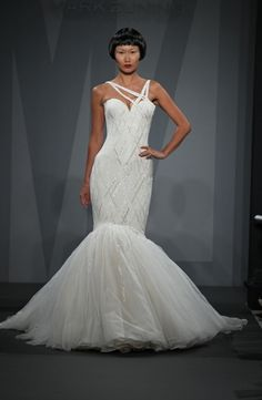 Mark Zunino Asymmetric Mermaid Gown in Beaded Lace | KleinfeldBridal.com
