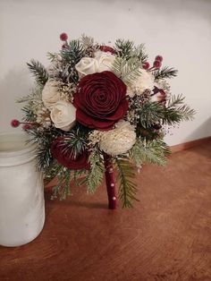 Floral Wedding, Wedding Flowers, Casual Wedding, Wedding Stuff, Christmas Wedding Bouquets, Cotton Bouquet, Evergreen Wedding, Winter Bridesmaids, Burgundy Bouquet