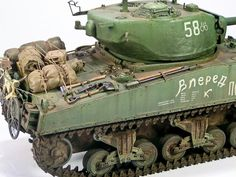 Sherman M4A2(76) Red Army, 1/35 scale. By Krzysztof Wisniewski. DRAGON's kit remodeled. #scale_model #WW2 #tank http://vis-miniatures.blogspot.jp/2012/01/sherman-m4a2-76-armia-czerwona.html