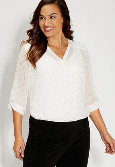 the perfect plus size blouse with goldtone metallic print - #maurices