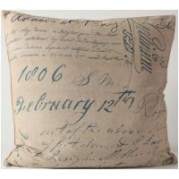 Blue Script Pillow / Fabric By The Yard