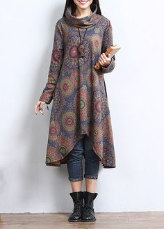 Floral Casual High Neckline Long Sleeve, Blouses - Blue / S Batik Fashion, Hijab Fashion, Fashion Dresses, Kurta Designs, Batik Mode, Stylish Dresses, Casual Dresses, Cheap Dresses, Hijab Stile