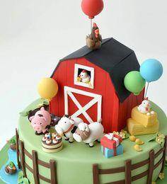 Pastel Granja Farm Animal Birthday, Farm Birthday, 1st Birthday Parties, Farm Animal Cakes, Farm Cake, Cake Business, Edible Art, Party Cakes, Party Themes